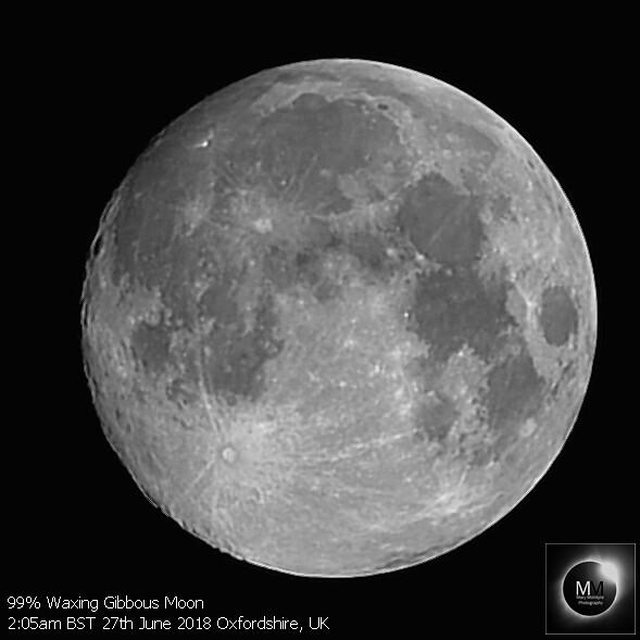 99% Waxing Gibbous Moon 2:05am BST 27/06/18