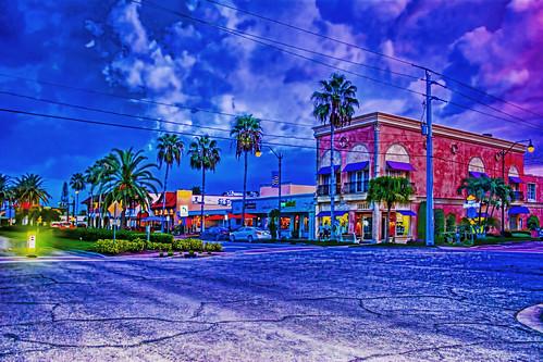 skyline city cityscape downtown historic sunshinestate dusk urban commercialproperty sarasotacounty nikond7100 metropolis metro bluehour palmtrees architecture building thebiggestlittlecityonfloridasgulfcoast