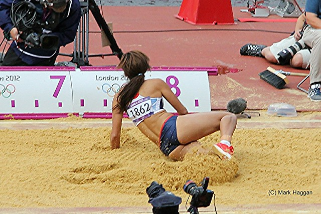 Katarina Johnson-Thompson of Team GB in the long jump during the heptathlon at the London 2012 Olympics