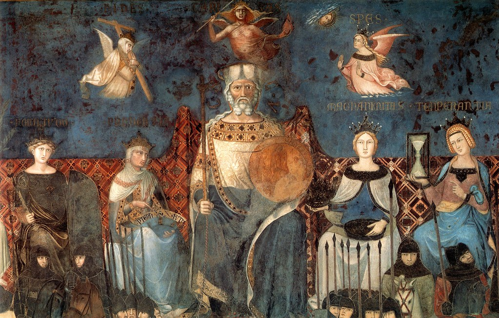 Sala Dei Nove Good Government.Lorenzetti A Siena Pal Publico Sala Dei Nove N Wall Virtu