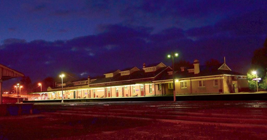Warragul Railway Station at night by phunnyfotos