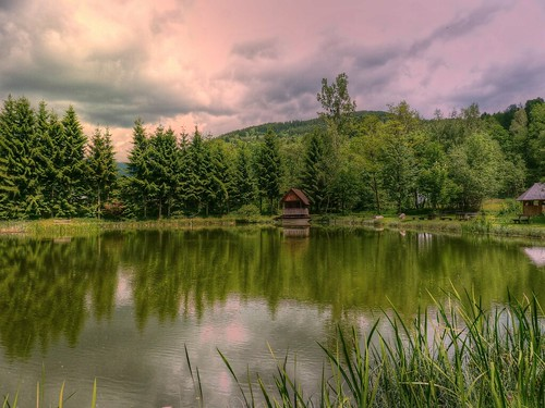 morning trees mountain color water clouds geotagged austria pond hütte hills hut teich styria karnerviertel