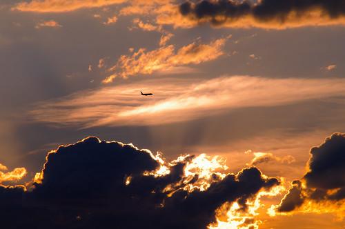 light sky clouds plane sunrise airplane rays