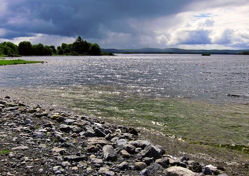 ireland sky lake galway beach water clouds europe waves stones lakeside