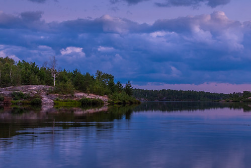 trees sunset ontario canada reflection water rock clouds sudbury lakelaurentain pwaterscape
