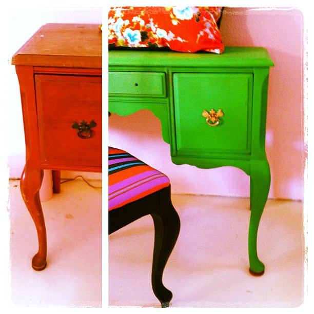 More nervous energy/insomnia #DIY - #reworked a #vintage #desk with some happy #green #paint