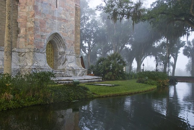 The Bok Tower Gardens Reflection Pond and Singing Tower, shrouded in mist