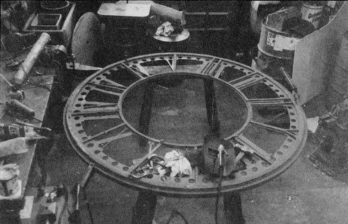 Potts clockface under repair