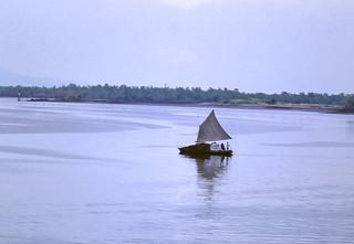 Unusual sail boat near Guayaquil
