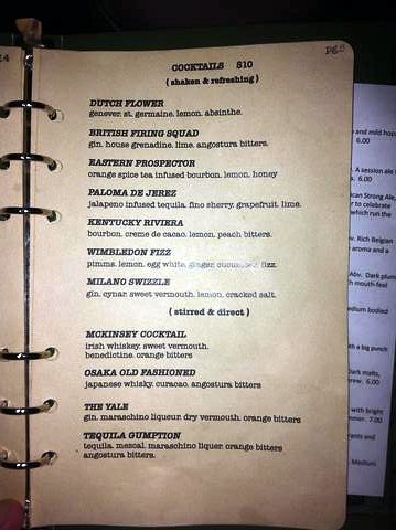 Cocktail menu at Craft & Commerce | We had the Eastern Prosp