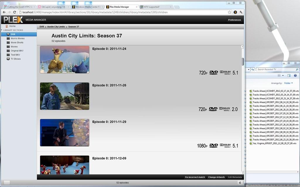 Plex WTV media manager | screen capture of Plex Media manage