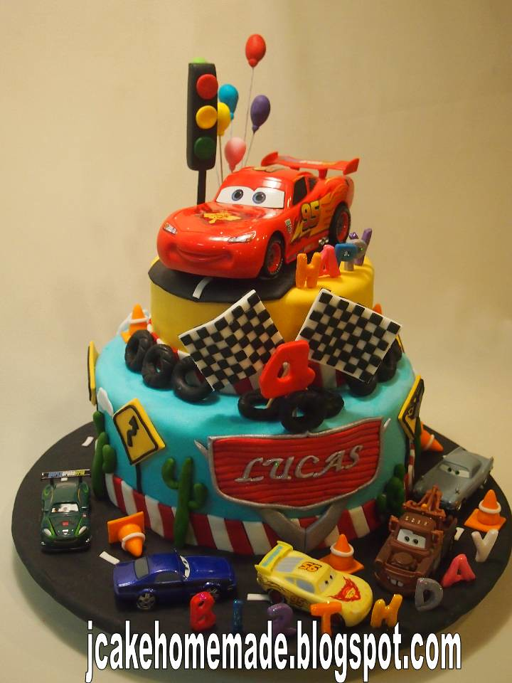 Brilliant Lightning Mcqueen Birthday Cake Happy 4Th Birthday Lucas T Flickr Personalised Birthday Cards Cominlily Jamesorg