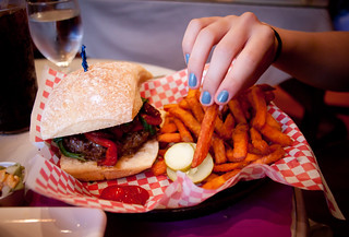 Tuscan Burger and Sweet Potato Fries at Beacon Falls Cafe