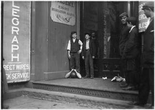 Bowling Alley boys. Many of these work until late at night. New Haven, Conn, March 1909