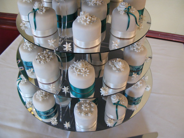 Teal and ivory mini cakes