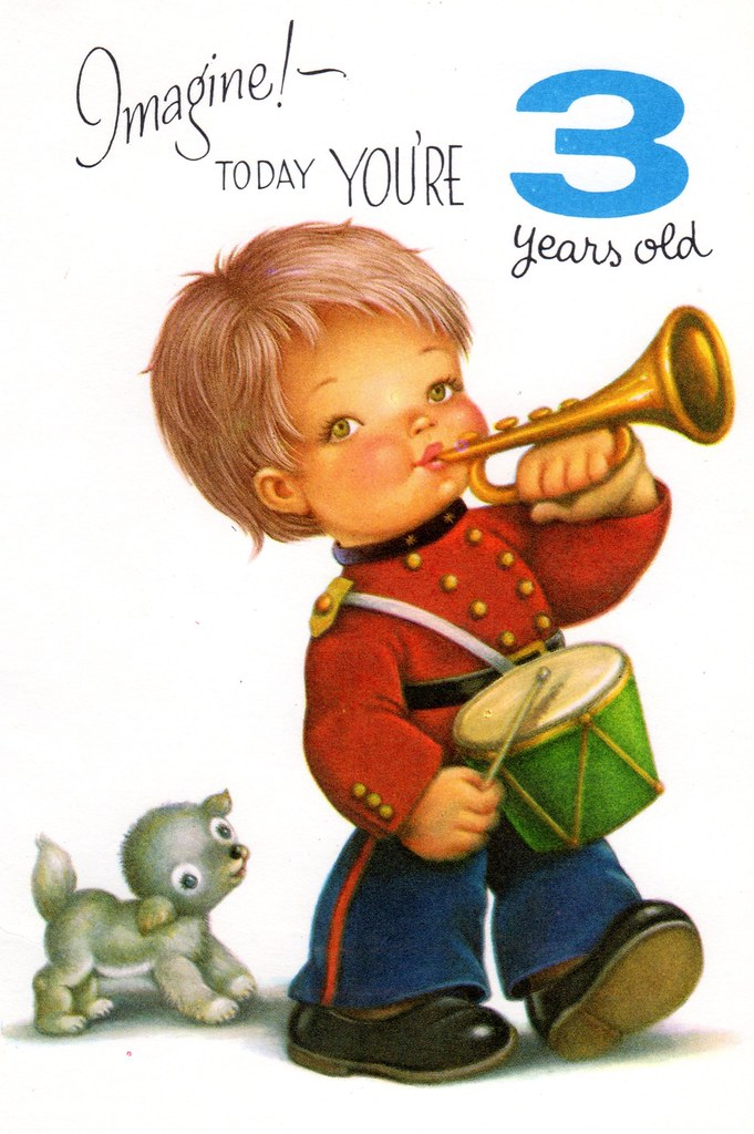 Chubby Cheek Boy Birthday Card For Three 3 Year Old Child Vintage 1960s