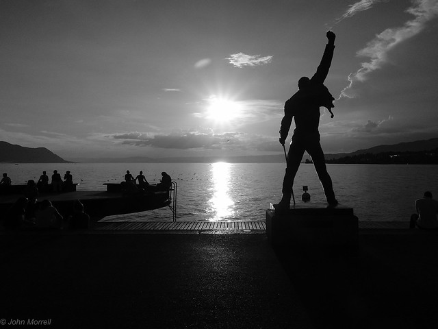 Freddy Mercury statue. Montreux. Sunset.