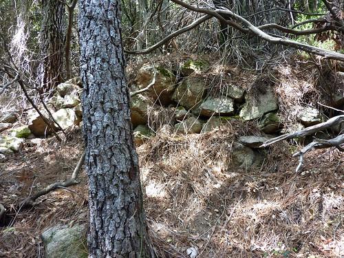 Remontée de la Frassiccia : dans le contournement du ressaut par la RG, une ancienne charbonnière (carbunara)