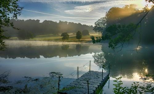 sunrise iphone mist jetty water sunrays sheep fonthill lake whatnodslr tisbury wiltshire outdoor serene sky