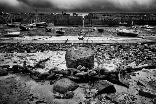 maritime ships chain lowtide mood galvanol blackandwhite boat bw cornwall harbour mousehole