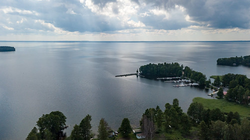 lake dronephotography drone säkylä pyhäjärvi harbour clouds