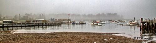 maine lighthouse light owlshead lobster coast coastal harbor ocean fog foggy beach rocky pier wharf fishing outdoor landscape panorama canon eos slr 7d