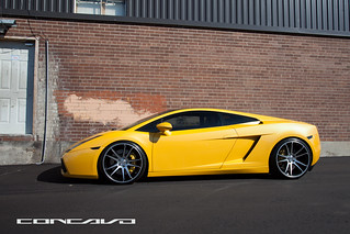 "LAMBORGHINI GALLARDO on 20"" Concavo CW-S5 Matte Black Machined Face. 20x9 & 20x10.5. 