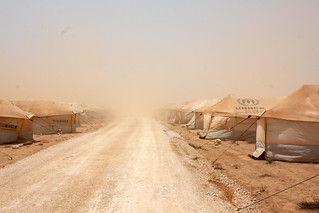 First tent camp   by EU Civil Protection and Humanitarian Aid Operation
