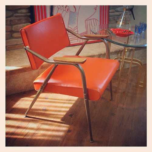VINTAGE MCM CHAIR Mid Century Modern Bright Orange Knoll Style Atomic Mod Spring Seat Arm Chair Reclining Back Bent Metal Steel Frame | by Aces Finds Vintage