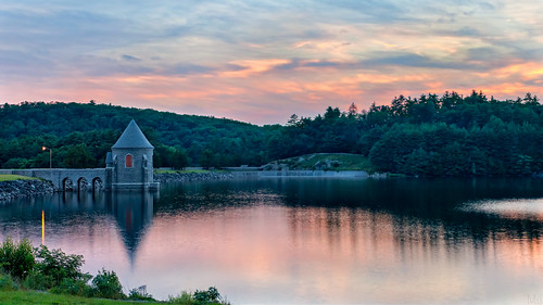sunset sky reflection sunrise print landscape photo scenery gallery unitedstates image dam connecticut stock scenic picture ct reservoir canvas sayville barkhamsted croporama