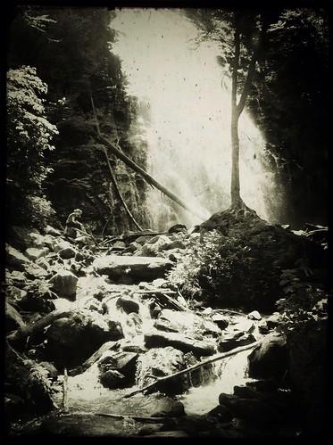 landscape blackwhite waterfall northcarolina tadaa blueridgeparkway iphone solace crabtreefalls lonefigure iphonography