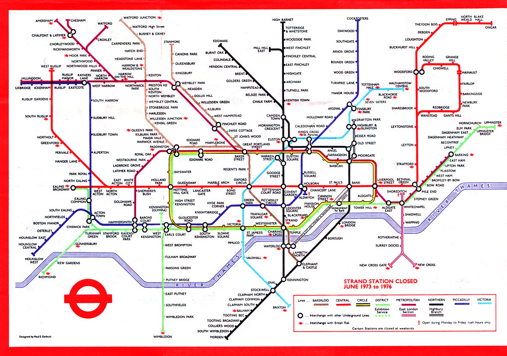 tube map 1975 | it\'s a bit different. strand station was com ...
