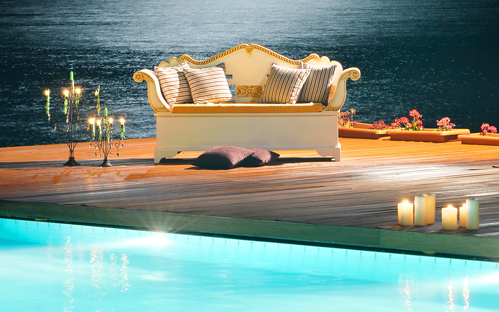 Romantic spot by the outdoor pool of the Hotel