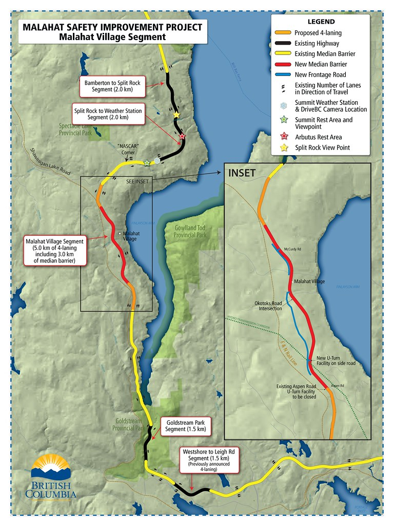 Malahat Village safety improvements | Three kilometres of th