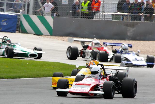 Racing at the Donington Historic Festival, Donington Park, May 2012
