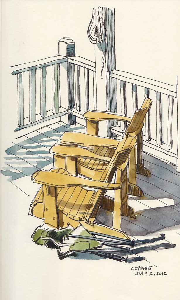 Muskoka Chairs Sketch   Or Adirondack chairs if you\'re south ...