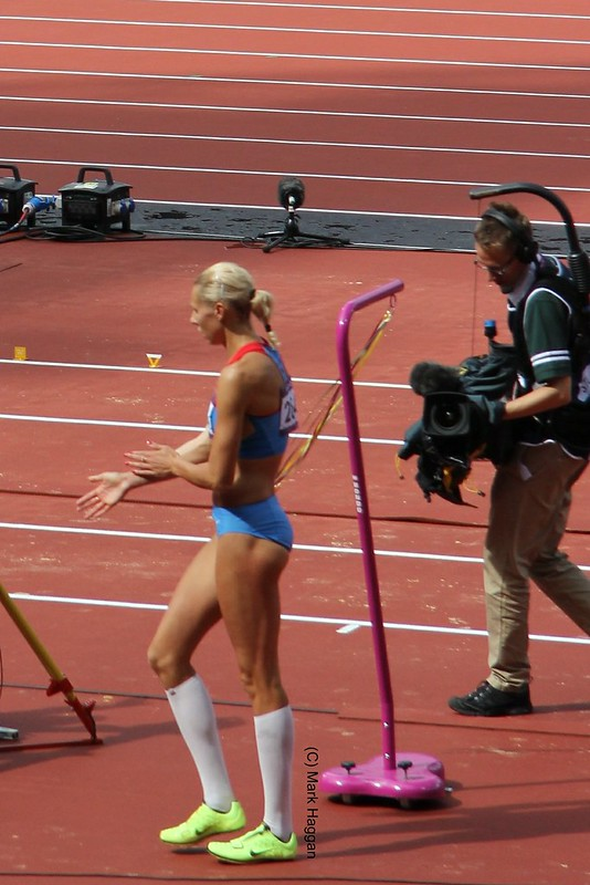 Tatyana Chernova in the long jump during the heptathlon at the London 2012 Olympics