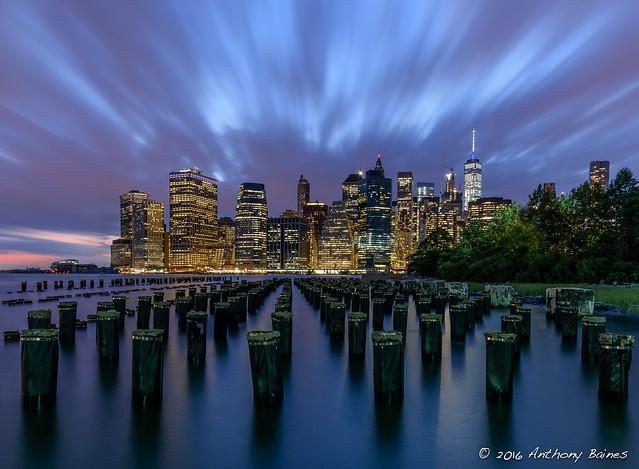 Sunset behind South Manhattan, seen from Brooklyn
