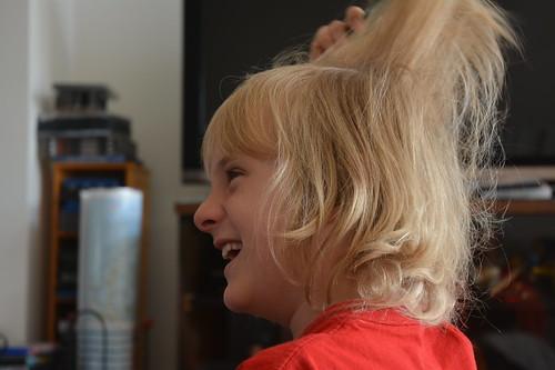 Finny brushing hair