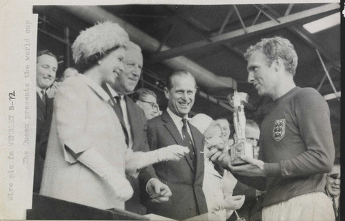 The Queen presents the 1966 World Cup to England Captain, Bobby Moore. | by National Science and Media Museum