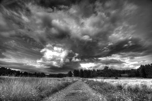 blackandwhite monochrome outdoor cloud kungsängen sweden sverige sky dramatic road field scandinavia