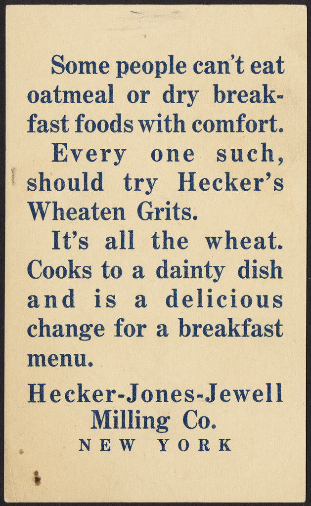 Hecker's Wheaten Grits - the popular grocer [back] | Flickr