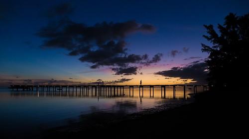 polynésiefrançaise moorea ocean sunset pier coucherdesoleil ponton skyporn frenchpolynesia plage beach