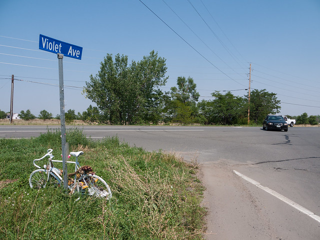 Ghost Bike at Violet and US-36 in North Boulder
