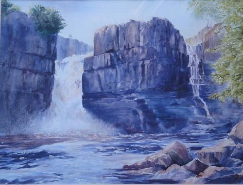 england highforce painting photostream rivertees water waterfall watercolour art