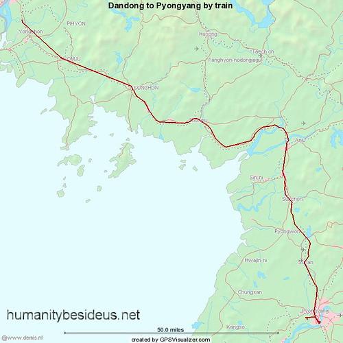 Dandong to Pyongyang train route | by humanitybesideus.net