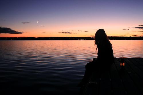 sunset portrait sky moon lake reflection girl silhouette female landscape pier dock candle dusk warmth serene lantern