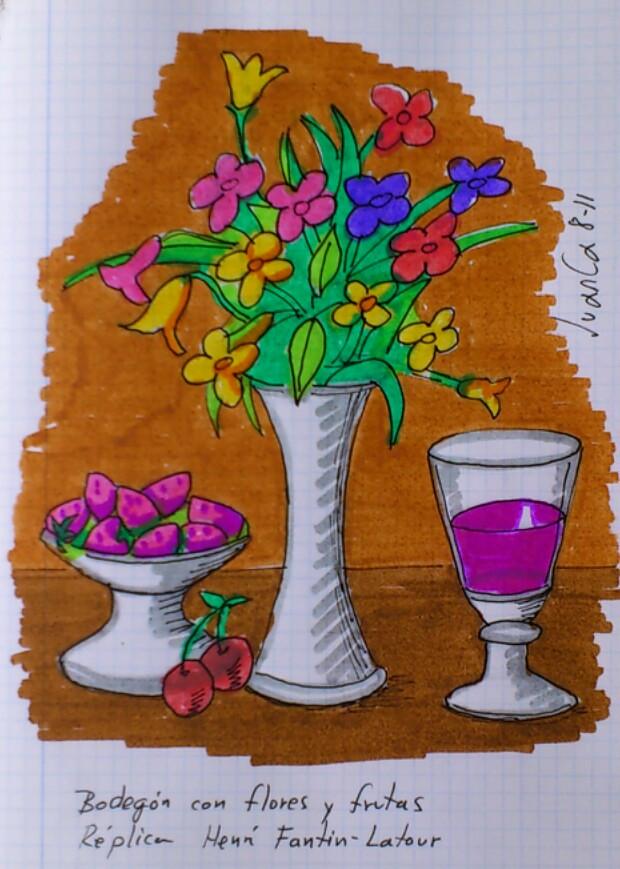 Bodegón Con Flores Y Frutas Dibujo Con Rotuladores Sobre C