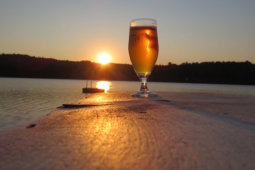 sunset lake mountains water beer woods maine chesterville troegsbrewery lockepond