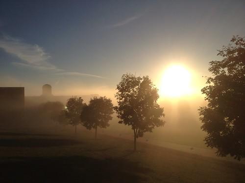 blue sky weather fog sunrise landscape awesome foggy rmu robertmorrisuniversity
